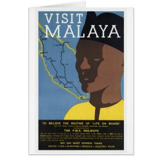 Visit Malaya Malaysia Railways Vintage Greeting Card