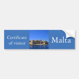 Visit Malta - tourist certificate Bumper Sticker