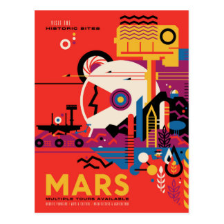 Visit Mars - Space Travel Illustration Postcard