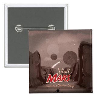 Visit Mars Vintage Poster Pinback Buttons