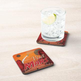 Visit Mars Vintage Poster Drink Coaster