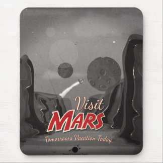 Visit Mars Vintage Poster Mousepad