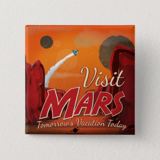 Visit Mars Vintage Poster Pinback Button