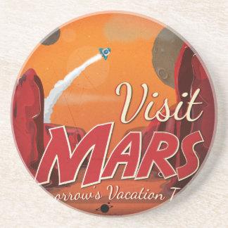 Visit Mars Vintage Poster Sandstone Coaster