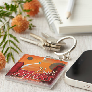 Visit Mars Vintage Poster Single-Sided Square Acrylic Keychain