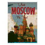 Visit Moscow vintage travel poster