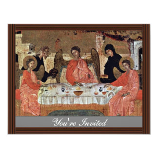 Visit Of The Three Angels With Abraham And Its Hos 4.25x5.5 Paper Invitation Card