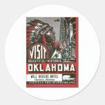 Visit Oklahoma OK USA Vintage Classic Round Sticker
