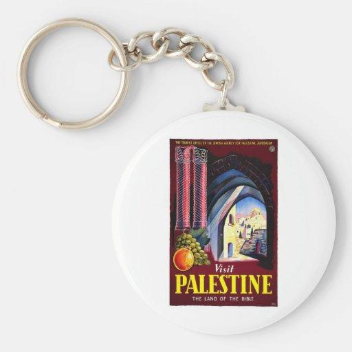 Visit Palestine Holy Land Vintage Travel Art Keychain