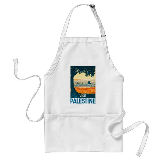 Visit Palestine Poster Adult Apron