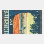 Visit Palestine, Vintage Rectangle Stickers