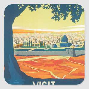 Visit Palestine Vintage Travel Poster Square Sticker