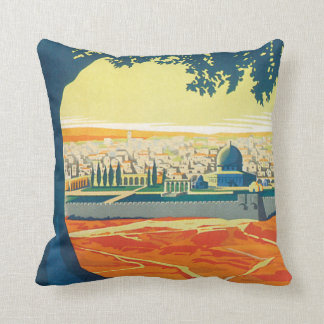 Visit Palestine Vintage Travel Poster Throw Pillow