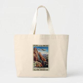 Visit Peru Vintage Travel Large Tote Bag