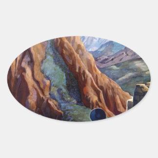 Visit Peru Vintage Travel Oval Sticker