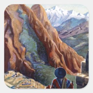 Visit Peru Vintage Travel Square Sticker