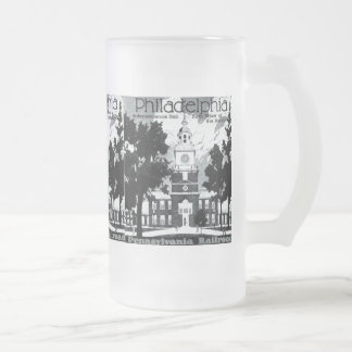 Visit Philadelphia on the Pennsylvania Railroad Frosted Glass Beer Mug