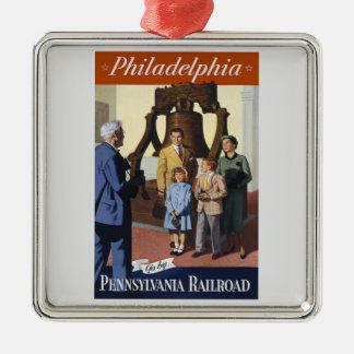 Visit Philadelphia on The Pennsylvania Railroad Metal Ornament