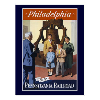 Visit Philadelphia on The Pennsylvania Railroad Postcard