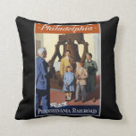 Visit Philadelphia on The Pennsylvania Railroad Throw Pillow