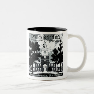 Visit Philadelphia on the Pennsylvania Railroad Two-Tone Coffee Mug