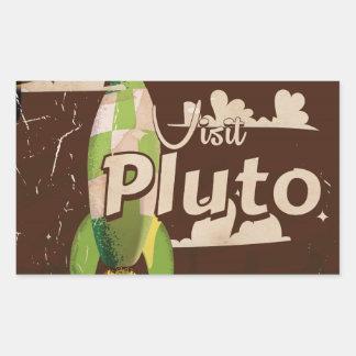 Visit Pluto Vintage Travel poster Rectangular Sticker