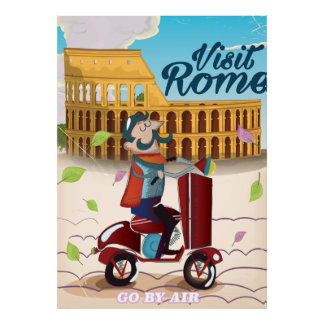 Visit Rome cartoon travel poster
