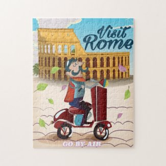 Visit Rome cartoon travel poster Jigsaw Puzzle