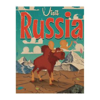Visit Russia Cartoon Vintage Poster Wood Wall Art