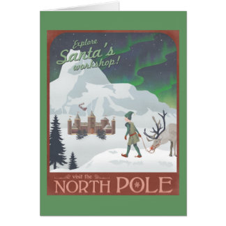 Visit Santa's workshop at the North Pole Greeting Card