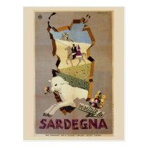 Visit Sardinia vintage Italian travel ad Postcard