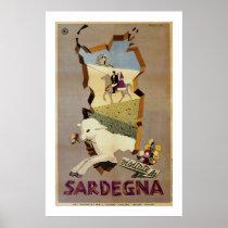 Visit Sardinia vintage Italian travel ad Poster