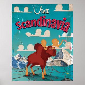 Visit Scandinavia Cartoon Vintage Poster