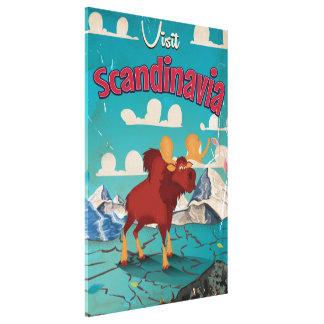 Visit Scandinavia Cartoon Vintage Poster Canvas Print