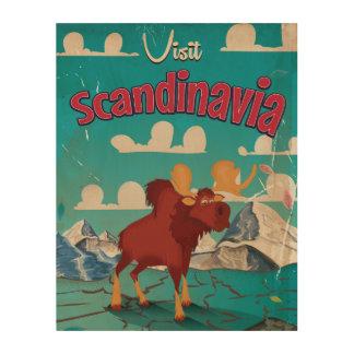 Visit Scandinavia Cartoon Vintage Poster Wood Wall Art
