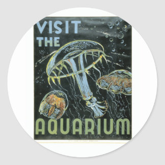 Visit the Aquarium - WPA Poster - Classic Round Sticker
