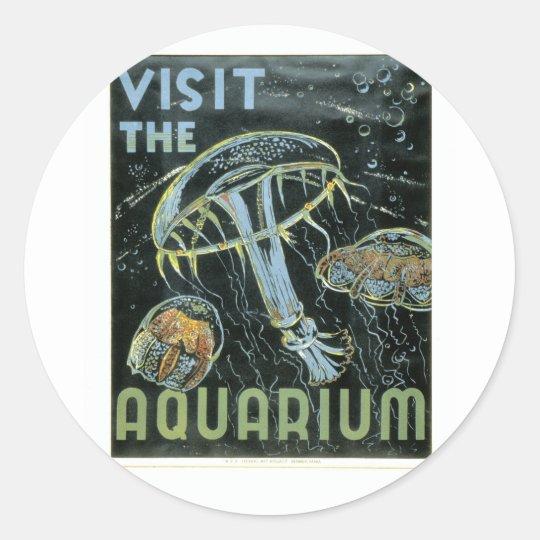 Visit the Aquarium - WPA Poster - Classic Round Sticker