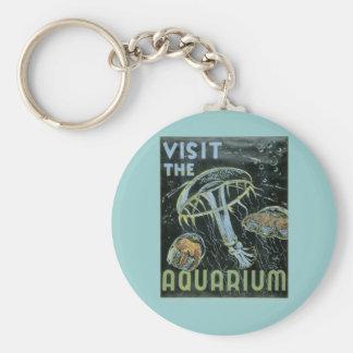 Visit the Aquarium - WPA Poster - Basic Round Button Keychain