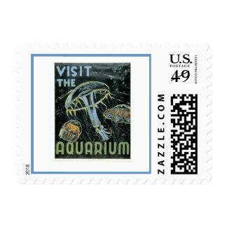 Visit the Aquarium - WPA Poster - Postage
