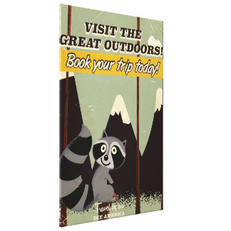 Visit the great outdoors vintage poster canvas print