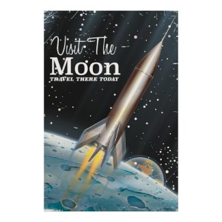 Visit The Moon vintage sci-fi travel poster
