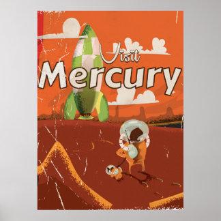Visit the Planet Mercury Vintage Sci-Fi Cartoon Poster