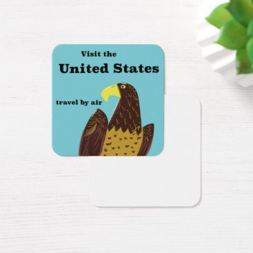 USA Themed Visit the united States Travel poster Square Business Card