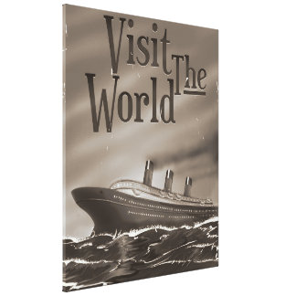 visit the world vintage cruise liner poster gallery wrapped canvas