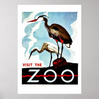 Visit the Zoo, herons, vintage retro WPA Poster