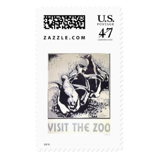 Visit The Zoo Penguin 1936 WPA Postage Stamp