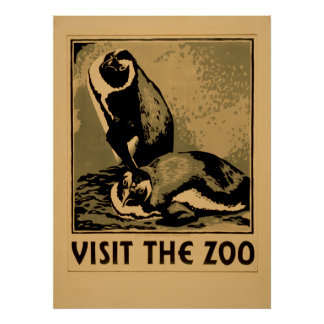 Visit The Zoo Penguins Vintage WPA Poster