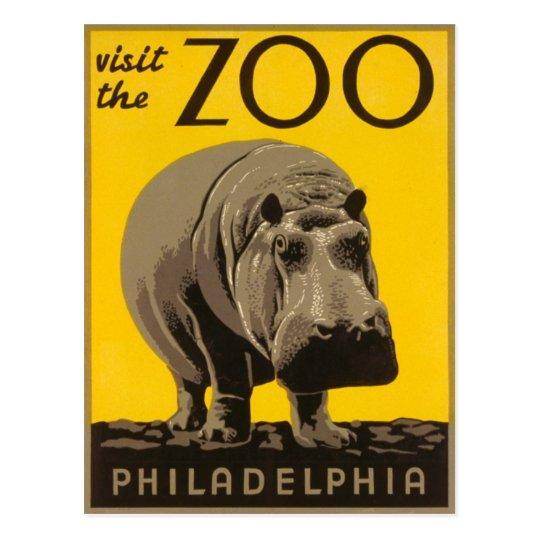 Visit The Zoo Philadelphia Hippo - Vintage WPA Postcard