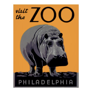 Visit the Zoo Philadelphia Vintage Poster