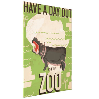 Visit The Zoo Vintage Travel Poster. Canvas Print